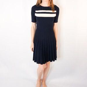 DRAPER JAMES Matelasse Blue Knit Pleated Dress